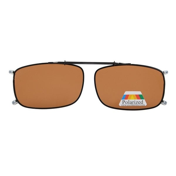 e833a19d6b Eyekepper Metal Frame Rim Polarized Lens Clip On Sunglasses Brown Lens -  lens width 52mm