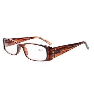 Eyekepper Spring Hinges Rectangular Reading Glasses Readers brown stripe +1.5