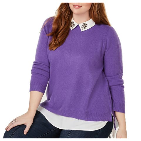 Charter Club Womens Sweater Purple 1X Plus Cashmere 2Fer Embellished