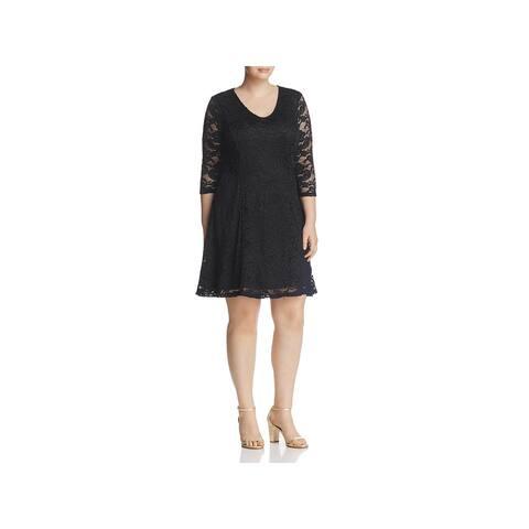 Junarose Womens Plus Emma Casual Dress Lace Deep V
