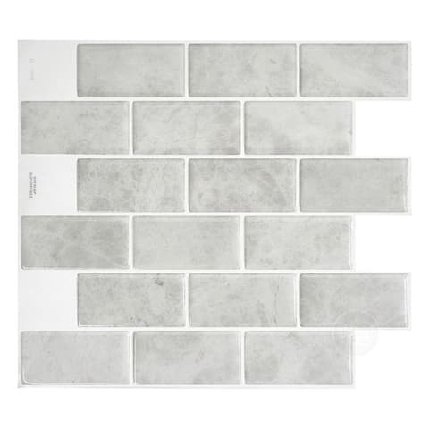 Smart Tiles Self Adhesive Wall Tiles - Subway Fondi - 4 Sheets of 10.95'' x 9.70'' Kitchen and Bathroom Stick on Tiles