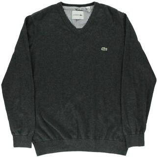 Lacoste Mens V-Neck Sweater Knit Ribbed Trim