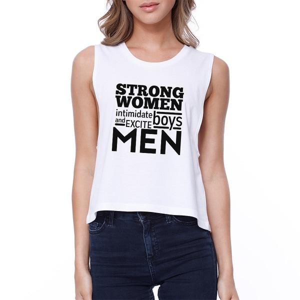 e4c682ce Shop Strong Women Womens White Cute Workout Tank Top Gym Crop Top ...