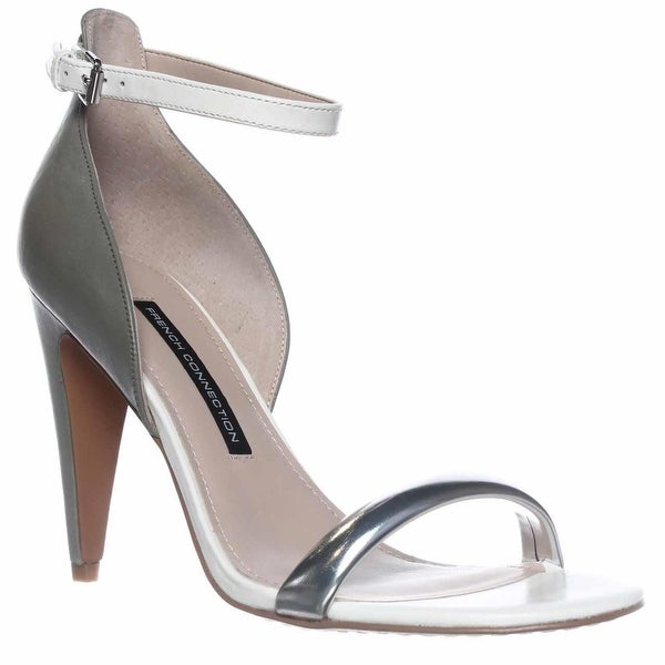 French Connection Nanette Ankle-Strap Dress Sandals, Silver/shark/white