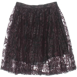 Parker Womens Rockies Lace Pleated A-Line Skirt