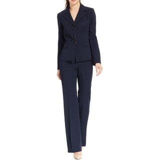 Le Suit Womens Country Club Pant Suit Notch Collar 2PC