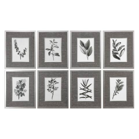"""Uttermost 33658 23"""" x 19"""" """"Sepia Gray Leaves"""" Framed Art Prints on - Olive Green"""