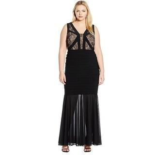 Xscape Plus Size Lace Detail Shutter V-Neck Evening Gown Dress Black