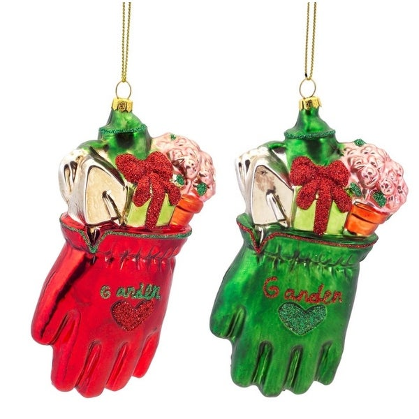 """Pack of 6 Red and Green Gardening Glove Glass Christmas Ornaments 5"""""""