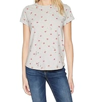 Lucky Brand Gray Womens Size Small S Scoop Neck Heart Stretch Top