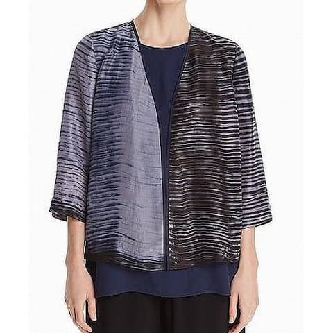 Eileen Fisher Gray Black Womens Size XXS Kimono Silk Sweater