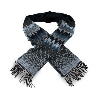 Black, Gray and Blue 100% Cashmere Fringed Wave Print Scarf