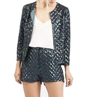 TopShop NEW Blue Pyramid Sequin Embellish Women's Size 6 Basic Jacket