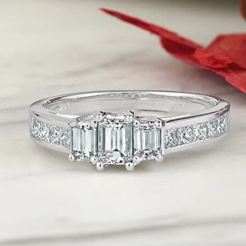 Auriya 14k Gold 1 1/4ctw Emerald-cut 3-Stone Diamond Engagement Ring