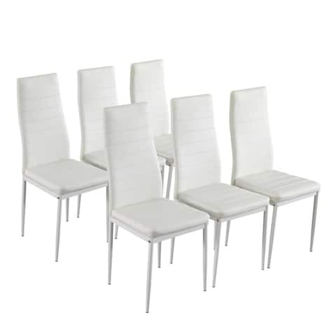 High Backrest PU Leather Dining Chairs (Set of 6)