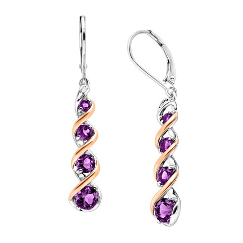 1 7/8 ct Natural Amethyst Drop Earrings with Diamonds in Sterling Silver & 14K Rose Gold
