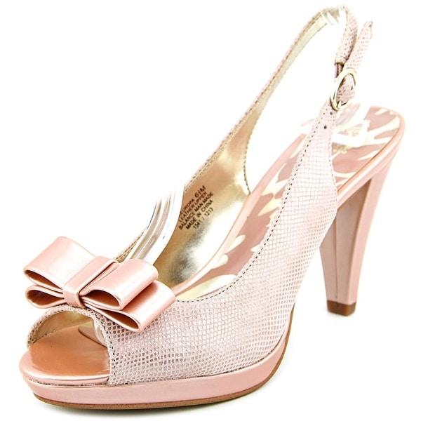 Anne Klein Europa Women Peep-Toe Leather Pink Slingback Heel