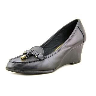 Lauren Ralph Lauren Rory Women Open Toe Leather Black Wedge Heel