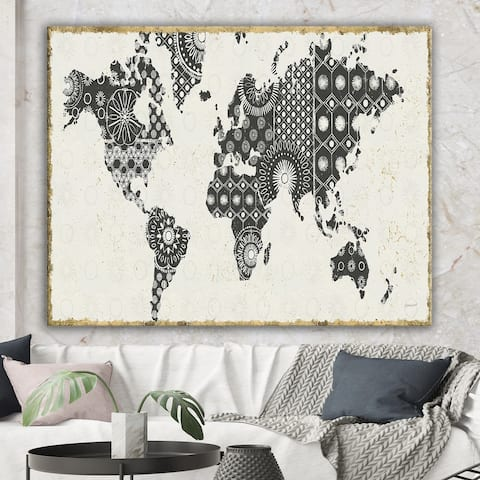 Designart 'Madallions Map' Traditional Gallery-wrapped Canvas - Black