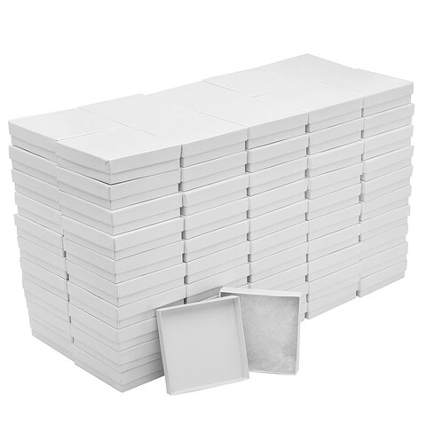 White Cardboard Square Jewelry Boxes With Swirls 3.5 x 3.5 x 1 Inches (100)