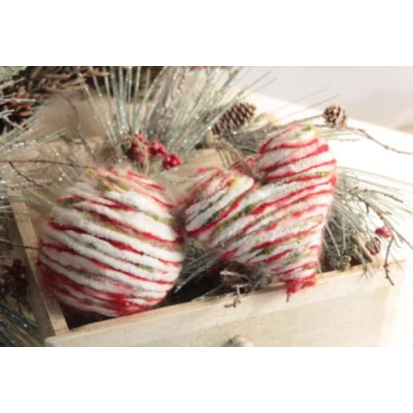"""Pack of 6 Rustic Lodge Homespun-Look Heart & Round Ball Christmas Ornaments 5.5"""" - RED"""