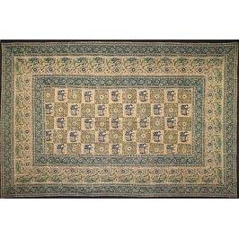 Handmade Elephant Block Print Batik Tablecloth 100% Cotton 60x90 Green Brown Gray