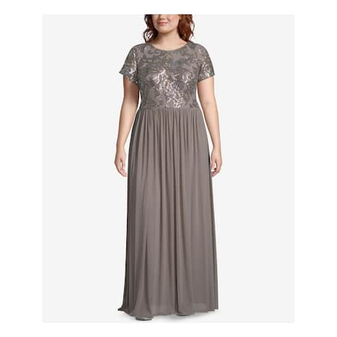 Betsy & Adam Women's Embroidered Sequin Bodice Chiffon Gown, Taupe, 18W
