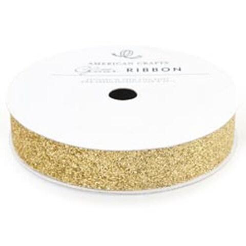 """Gold - Solid Glitter Ribbon .625""""X3yd"""