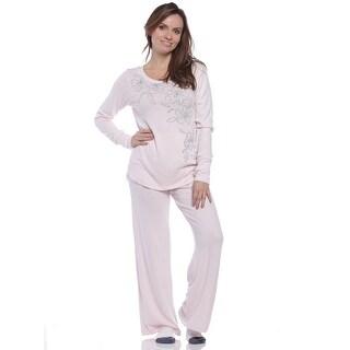 Rene Rofe Women's Floral Staycation Top/Wide Leg Pants Pajama Set - Pink