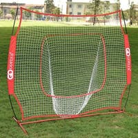 Costway 7X7' Baseball Softball Practice Hitting Batting Training Net Bow Frame Red Bag