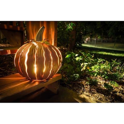 Desert Steel Orange Squatty Pumpkin Luminary