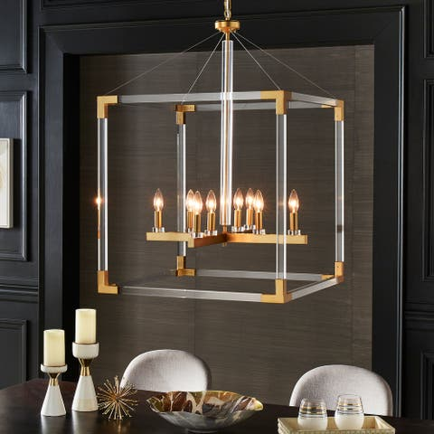 Galway Matte Gold Acrylic Cube Chandelier by iNSPIRE Q Bold