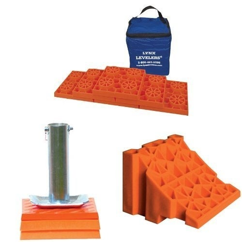 Tri-Lynx Lynx Levelers, Cap And Wheel Chock Bundle - Orange