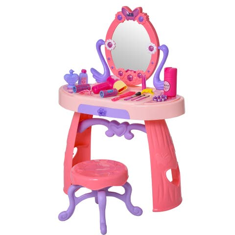 Qaba Kids Vanity Table Stool Beauty Pretend Play Set with Mirror Lights Sounds & Makeup Accessories for Girls 3+ Years Old Pink