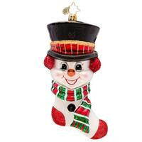Christopher Radko Glass Frosty 'N' Cozy Snowman Stocking Christmas Ornament #1017119 - RED