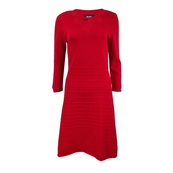 3a6de288144 Shop Nine West Women s Cutout Fit   Flare Sweater Dress - On Sale - Free  Shipping On Orders Over  45 - Overstock - 17573159