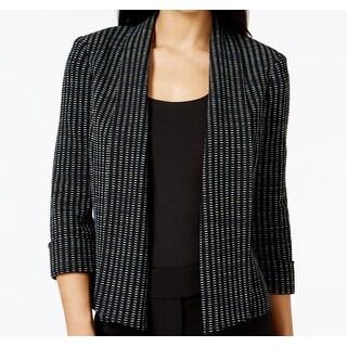 Kasper NEW Black Green Blue Womens Size 16 Dash-Knit Jacquard Jacket