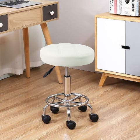 Adjustable Spa Rolling Stool with Wheels and Foot Rest Hydraulic Drafting Stool