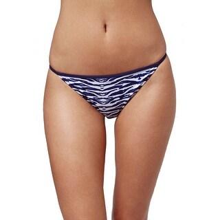 Topshop NEW Blue Navy Women's Size 4 Zebra Print Bikini Bottom Swimwear