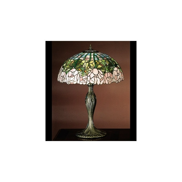Meyda Tiffany 31143 Stained Glass / Tiffany Table Lamp from the Cabbage Rose Collection - tiffany glass - n/a
