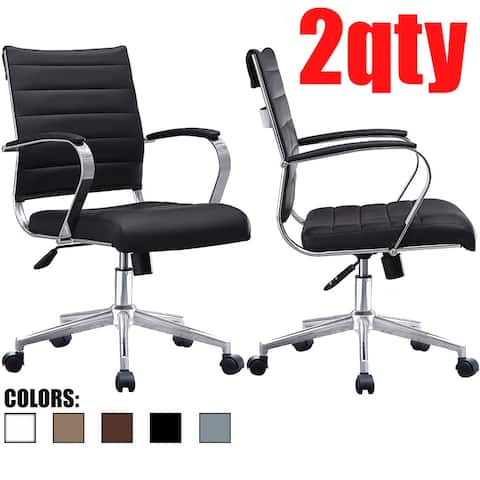 2xhome Set of 2 Modern Mid Back Ribbed PU Leather Swivel Tilt Adjustable Seat Task Conference Room Office Chair with Arms