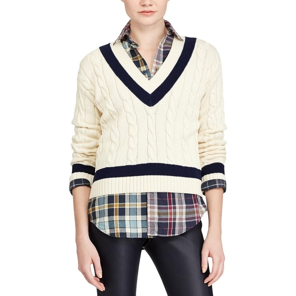 be91dc696c Shop Polo Ralph Lauren Womens V-Neck Sweater Winter Cable Knit - xL ...