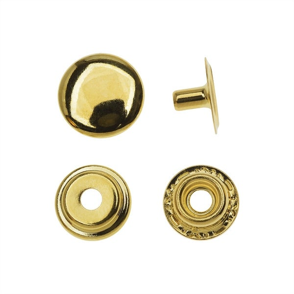 Create Recklessly, Round Line 20 Snap Button Pack 12.5mm Diameter, 8 Sets, Brass Plated