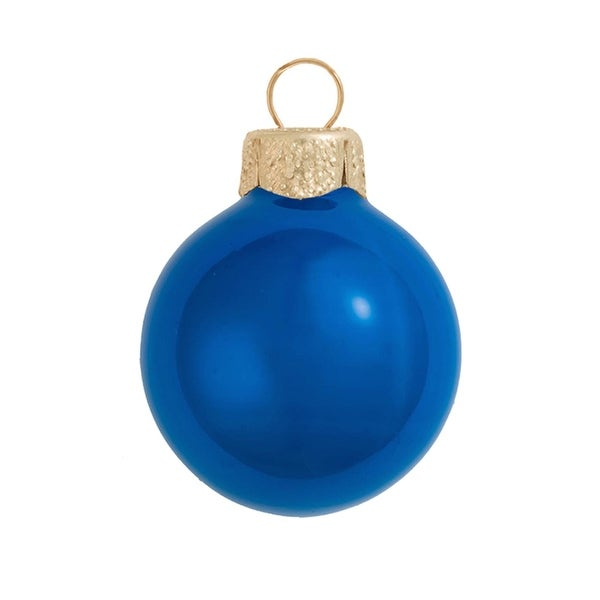 "6ct Pearl Cobalt Blue Glass Ball Christmas Ornaments 4"" (100mm)"