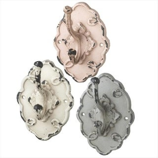 Pack of 6 Distressed Vintage Style Ivory White, Slate Gray and Rose Pink Wall Hooks