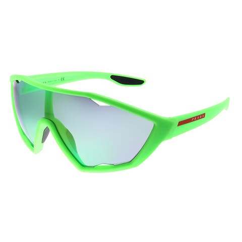 Prada Linea Rossa Active PS 10US 4471M2 Unisex Fluo Green Rubber Frame Green Mirror Lens Sunglasses