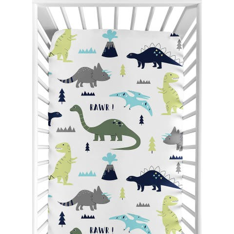 Sweet Jojo Designs Blue and Green Mod Dinosaur Collection Fitted Crib Sheet
