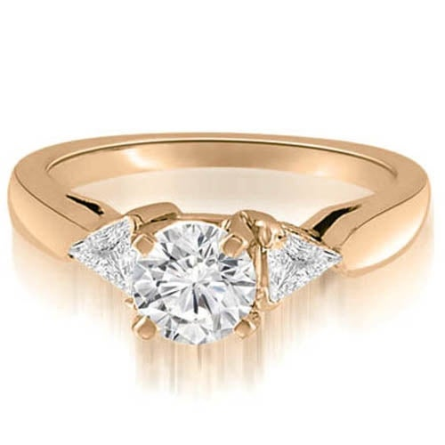 0.80 cttw. 14K Rose Gold Round And Trillion 3-Stone Diamond Engagement Ring