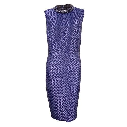 fc58bf642b4 Shop Ivanka Trump Women's Embellished Mock Neck Jacquard Sheath Dress - Navy  - Free Shipping Today - Overstock - 17616720