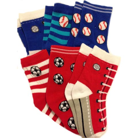 Nicky Noodles Little Boys' 6 Pack Fun Pack Cotton Socks - Sneakers and Sports